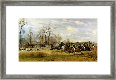 Emperor Franz Joseph I Of Austria Hunting To Hounds With The Countess Larisch In Silesia Framed Print by Emil Adam