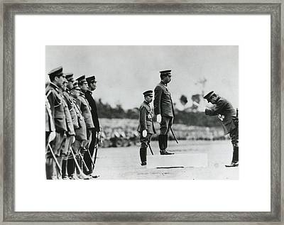 Emperor Hirohito Delivering A Message Framed Print