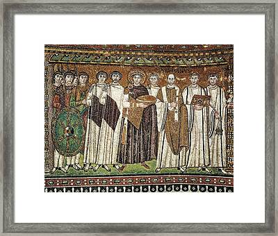 Emperor Justinian And His Court. Ca Framed Print
