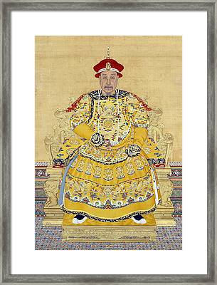Emperor Qianlong In Old Age Framed Print by Chinese School