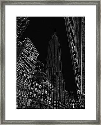 Empire Nyc White On Black Framed Print by Meandering Photography