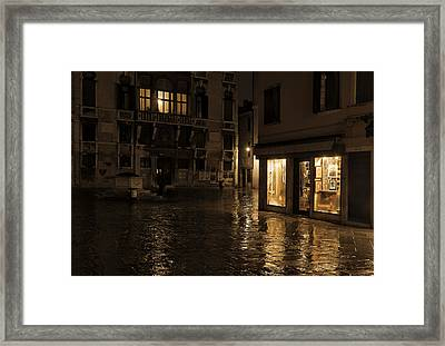 Winter's Night In Venice Framed Print by Marion Galt
