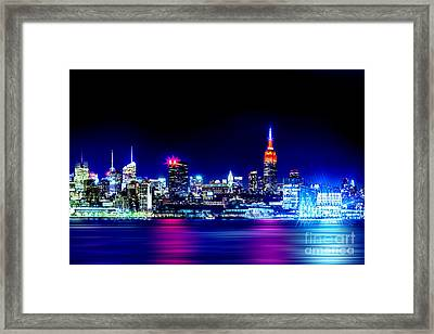 Empire State At Night Framed Print by Az Jackson