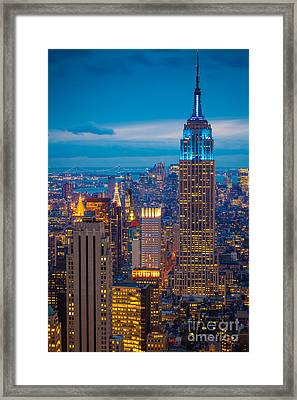 Empire State Blue Night Framed Print by Inge Johnsson