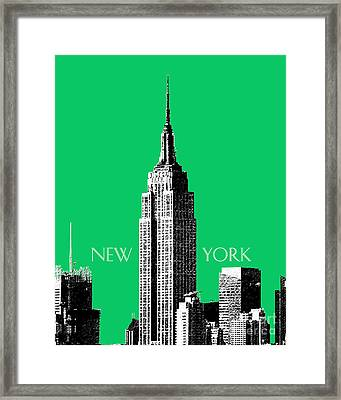Empire State Building - Green Framed Print by DB Artist