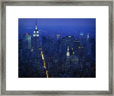 Empire State Building 1980s - New York City Framed Print by Mountain Dreams