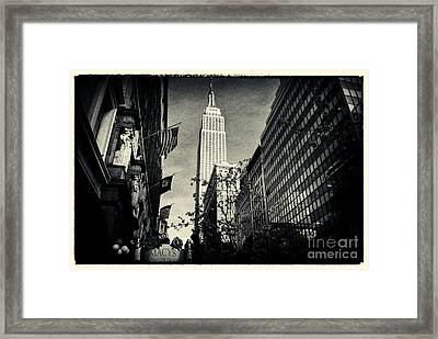 Empire State Building And Macys In New York City Framed Print by Sabine Jacobs