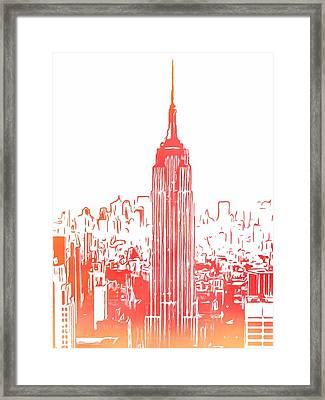 Empire State Building And Manhattan Skyline Sketch Framed Print