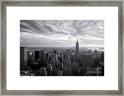 Empire State Building And Midtown Manhattan Black And White Framed Print by Sabine Jacobs
