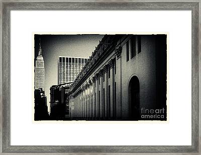 Empire State Building And Us Post Office Building New York City Framed Print by Sabine Jacobs