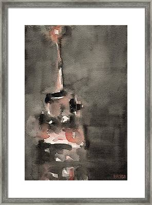 Empire State Building Coral And Black Watercolor Paintings Of Nyc Framed Print