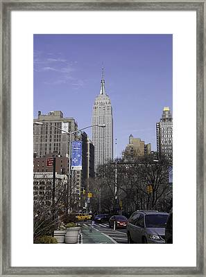 Empire State Building From Broadway - New York City Framed Print by Erin Cadigan