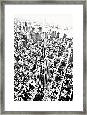 Empire State Building Hdr Bw Framed Print by Kim Lessel