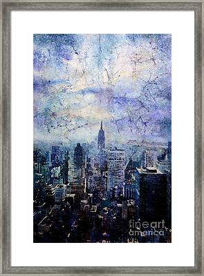 Empire State Building In Blue Framed Print by Ryan Fox