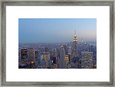 Empire State Building In Midtown Manhattan Framed Print by Juergen Roth