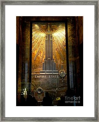 Empire State Building - Magnificent Lobby Framed Print by Miriam Danar
