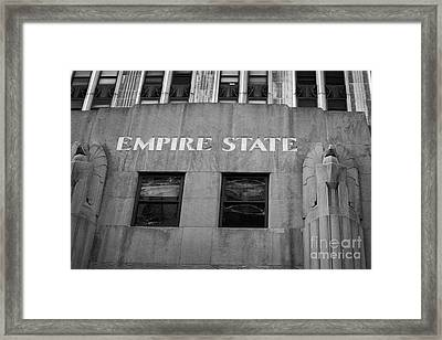 Empire State Building Nameplate Art Deco Gold Writing New York Framed Print
