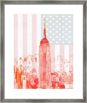 Empire State Building On American Flag Framed Print by Dan Sproul