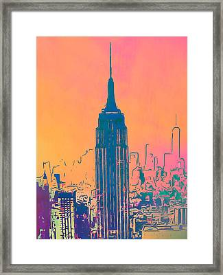 Empire State Building Pop Art Framed Print