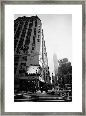 Empire State Building Shrouded In Mist As Pedestrians Crossing Crosswalk On 7th Ave New York Framed Print