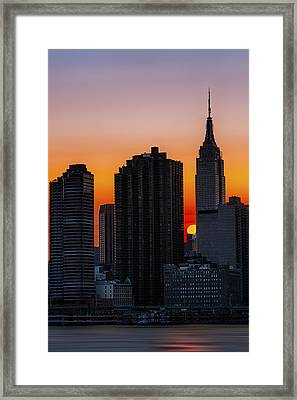 Empire State Building Sunset Framed Print by Susan Candelario