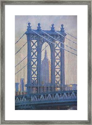 Empire State Building Through The Manhattan Bridge Framed Print
