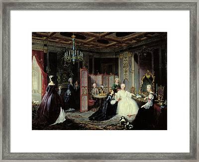 Empress Catherine The Great 1729-96 Receiving A Letter, 1861 Oil On Canvas Framed Print by Jan Ostoja Mioduszewski