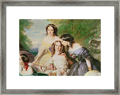 Empress Eugenie 1826-1920 And Her Ladies In Waiting, Detail Of Baronne De Malaret, Nee Nathalie De Framed Print