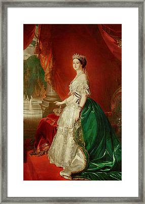 Empress Eugenie Of France 1826-1920 Wife Of Napoleon Bonaparte IIi 1808-73 Oil On Canvas Framed Print by Franz Xaver Winterhalter