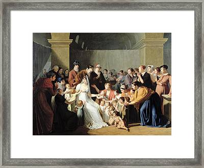 Empress Josephine 1763-1814 Among The Children, 1806 Oil On Canvas Framed Print by Charles Nicolas Raphael Lafond