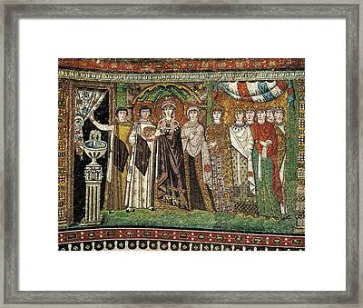 Empress Theodora With Her Court. Ca Framed Print