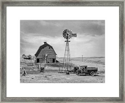 Empty Barns And Idle Trucks Framed Print