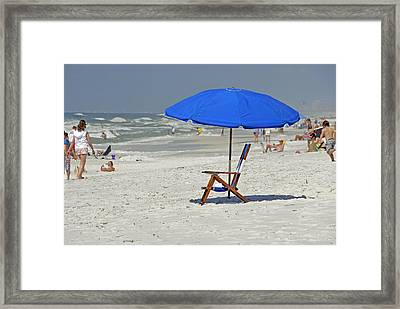 Framed Print featuring the photograph Empty Beach Chair by Charles Beeler