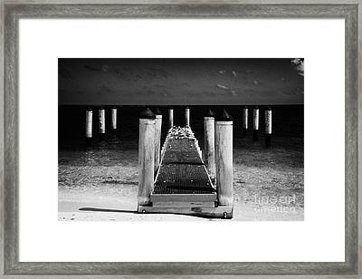 Empty Boat Pier With Seabirds Dry Tortugas Florida Keys Usa Framed Print by Joe Fox
