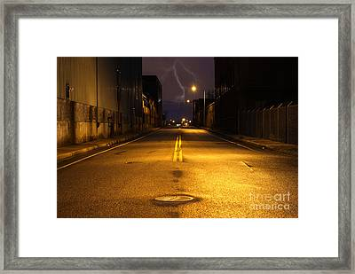 Empty City Street At Night With Lighting Strike Framed Print by Denis Tangney Jr