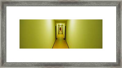 Empty Corridor Of A Building Framed Print by Panoramic Images