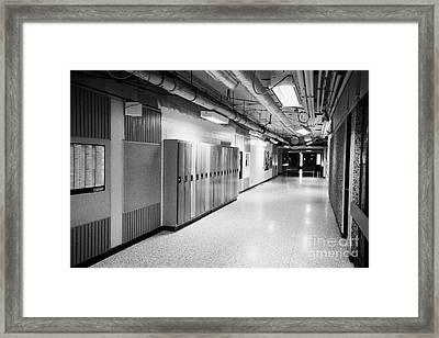 empty corridor of High school canada north america Framed Print by Joe Fox