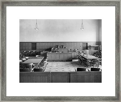 Empty Courtroom Framed Print by Underwood Archives