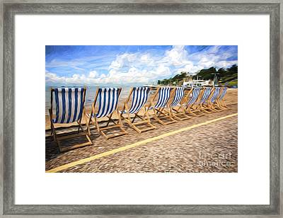 Empty Deckchairs At Southend On Sea Framed Print by Avalon Fine Art Photography