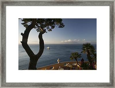 Empty Dining Tables In The Balcony Framed Print