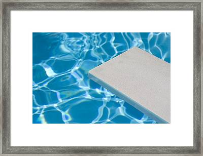 Empty Diving Board And Water Framed Print