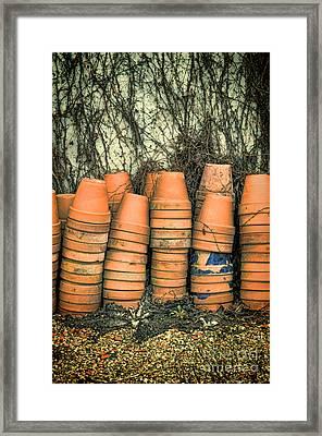 Empty Flower Pots Stacked Framed Print by Jill Battaglia