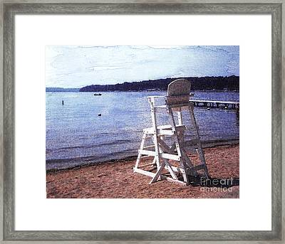 Empty Lake Empty Beach Summer's Out Of Reach  Williams Bay  Wi Framed Print