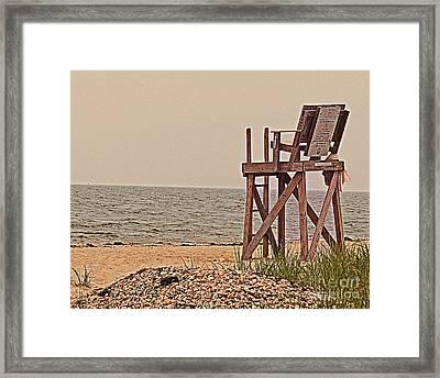 Empty Lifeguard Chair Framed Print by Rita Brown