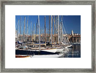 Empty Masts In Vieux Port Framed Print by John Rizzuto