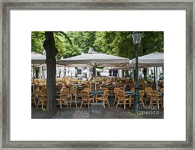 Empty Outdoor Cafe In Europe Framed Print