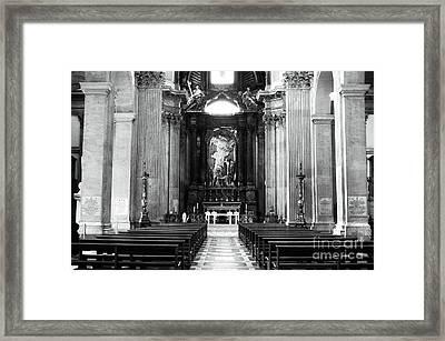 Empty Pew Framed Print by John Rizzuto