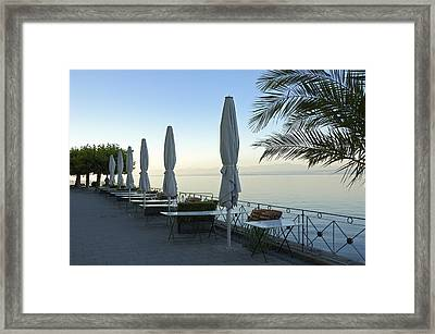 Empty Promenade In The Morning Meersburg Lake Constance Framed Print by Matthias Hauser