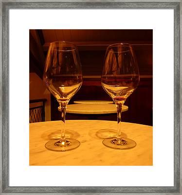 Empty Red Wine Glasses Framed Print by Fabien White