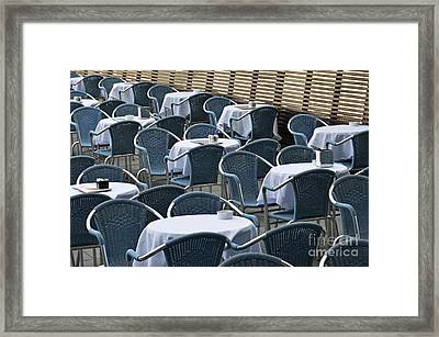 Empty Restaurant Seats And Tables Framed Print